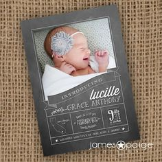 Vertical Chalk Design Baby Announcement (5x7) on Etsy,