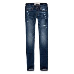 Abercrombie & Fitch Skinny Jeans ($35) ❤ liked on Polyvore featuring jeans, pants, bottoms, jeans/pants, destroyed dark wash, blue skinny jeans, ripped jeans, ripped skinny jeans, denim skinny jeans and short skinny jeans