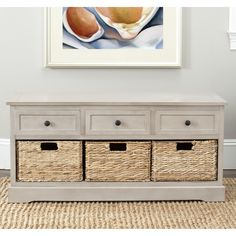 Bring together your living room décor with this gorgeous gray three-drawer storage unit. You can use this as a TV stand if you wish or simply use it to give an elegant look to what would otherwise be wasted space below a nice painting.