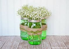 Center piece Jar with Green Water for St. Patricks Day