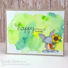 Watercolor Bunny card by Jennifer Jackson   Garden Whimsy Stamp set by Newton's Nook Designs #newtonsnook #bunny