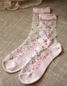 Rosy Posy Socks - Sheer Gossamer Floral Ankle Socks