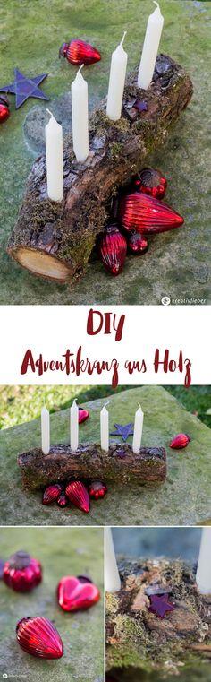 DIY Adventskranz aus Holz selbermachen - Upcycling Idee aus Holzscheit - natürlicher Adventskranz