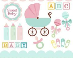 Baby clipart in teal, pink, baby rattles, baby carriage, bottles, pacifier, blocks, safety pins, clip art DIGITAL DOWNLOAD