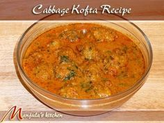 Koftas are fried dumplings in a variety of spicy gravies. The dumplings can be made using a variety of vegetables and some popular ones are cabbage, laucki (bottle guard), zucchini, or a potato-paneer mix. This particular recipe uses cabbage. Jain Recipes, Veg Recipes, Kitchen Recipes, Indian Food Recipes, Cooking Recipes, Cooking Videos, Punjabi Recipes, Punjabi Food, Indian Foods