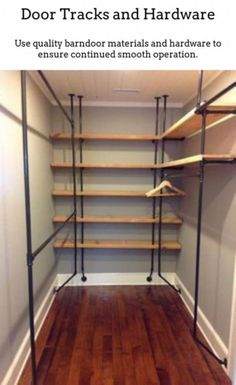How to build cheap and simple DIY closet shelves - lovely etc.Build your own DIY closet shelves. These closet shelves are simple and inexpensive and the perfect way to organize any closet. Wood Closet Shelves, Pipe Shelves, Glass Shelves, Glass Cabinets, Bedroom Shelves, Floating Shelves, China Cabinets, Kitchen Cabinets, Pipe Closet