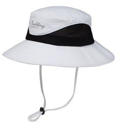 98aa295dfc417 White UPF 50+ Bucket Hats-Wide Brim Sun Hat (UV Sun Protective)