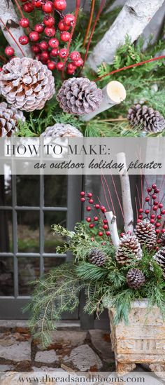 How to Make Outdoor Christmas Planters using Evergreen Boughs - Threads & Blooms - Holiday Christmas Window Boxes, Christmas Urns, Christmas Greenery, Christmas Arrangements, Rustic Christmas, Christmas Holidays, Christmas Wreaths, Christmas Crafts, Primitive Christmas