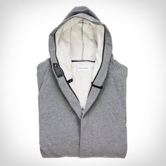 Our friends at wings + horns make these custom bathrobes exclusively for us, and for you, at their place in Canada. The robes are a cross between an old-style b