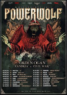"""NEWS: The heavy metal band, Powerwolf, have announced a fall European tour, called the """"Wolfsnächte Tour."""" They will be touring in support of their upcoming album, Blessed and Possessed. Orden Ogan, Xandria and Civil War will be on the tour, as support. You can check out the dates and details at http://digtb.us/1NabCYA"""