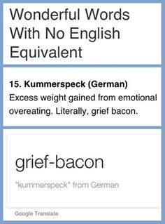 Grief bacon. I'm going to be using this a lot from now on.  Kummerspeck