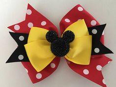 Minnie Mouse Hair Bow Mickey Mouse Bow Disney Minnie Bow Disney Mickey Bow Red Polka Dot Minnie Bow with Glittery Minnie Disney Hair Bow Ribbon Hair Bows, Girl Hair Bows, Girls Bows, Ribbon Flower, Disney Hair Bows, Minnie Mouse Bow, Boutique Hair Bows, Diy Hair Accessories, Wedding Accessories