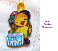 Sweet Duck with Bonnet Easter MINI ORNAMENT by ToysInTheCloset