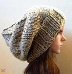 Slouchy beanie hat - Lt KHAKI Green - knit - womens teen girls - accessories - Wool Woolen on Etsy, $35.00