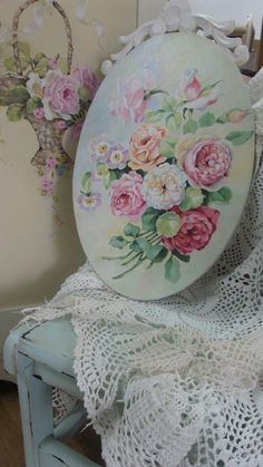 Shabby Chic Painting, Rose Art, Painting On Wood, Dried Flowers, Craft Projects, Decorative Plates, Antiques, Pretty, Crafts