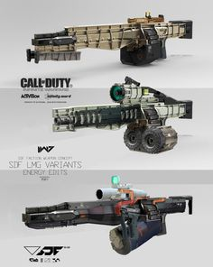 I know we've already looked at art from Infinite Warfare, but this collection of work from Aaron Beck—mostly very cool robots and future space armour—is just too good to let pass us by. Sci Fi Weapons, Weapon Concept Art, Fantasy Weapons, Weapons Guns, Space Armor, Call Of Duty Infinite, Airsoft, Future Weapons, Cool Robots