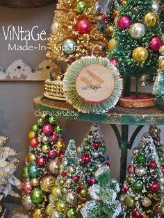 ViNtaGe BOTTLE BRUSH CHRISTMAS TREES... ChiPPy!-SHaBBy!