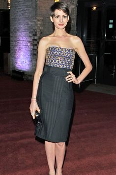 Anne Hathaway wore an Altuzzara top and skirt to attend the after party of the Les Miserables premiere; 12/5/12.