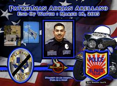 IN MEMORIAM: OFFICER ADRIAN ARELLANO  Patrolman Adrian Arellano was killed when his police motorcycle collided with another vehicle at North Yarbrough Drive and Edgemere Boulevard while escorting a funeral procession through the intersection. A second officer was directing traffic at the intersection when the driver of a small sedan disregarded the officer's signals and entered the intersection. Patrolman Arellano's motorcycle struck the vehicle, causing him to be thrown to the ground. He…