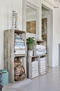 Caixotes de madeira na decora��o - Reciclagem 1