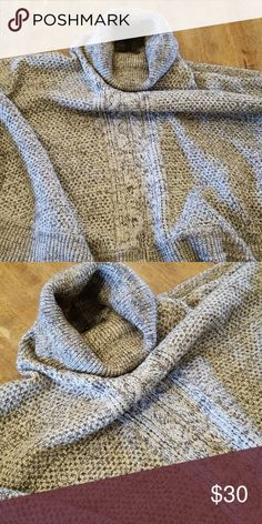 Ladies Shawl Earth tones, cable knit turtle neck shawl. Cozy and super stylish with a layered scarf Brixon Ivy Sweaters Shrugs & Ponchos