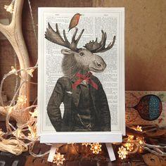 Image of Moose Gentleman Antique Book Page Art Print
