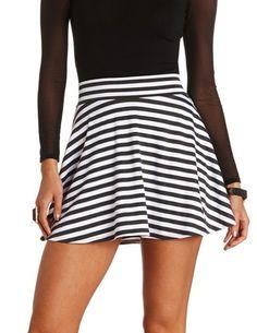 High-Waisted Striped Skater Skirt: Charlotte Russe
