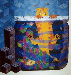 Tumbles the Cat, a quilt by Chris Lynn Kirsch and Sharon V. Rotz