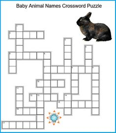 In this simple kids' crossword, your child needs to supply the name for young animals, such as bunny and puppy. Good fun, and educational, too! Reading Games For Kids, Word Games For Kids, Puzzles For Kids, Activities For Kids, 2nd Grade Spelling Words, Spelling Games, Easy Word Search, Word Search Puzzles, Baby Animal Names