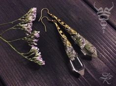 Botanical Boho crystal earrings with real dried flower in the crystal resin. The length is about 7 cm.   Shipped by Russian post, by air parcel.