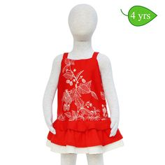 Razzle Dazzle -- This red jumper can be worn as a sundress or with T-shirt underneath to transition into the cooler months. It has subtle floral print on the bodice, two plain red skirted ruffles and a third ivory ruffle that picks up the color in the patterned bodice. The full-length back zipper makes dressing easy…oh so important for squirmy toddlers. ($30)