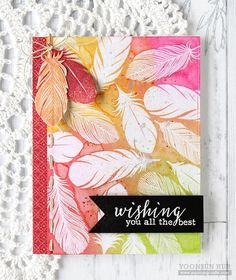 """Clearly Besotted """"Tickle My Fancy"""" watercolor feather card by Yoonsun Hur!"""