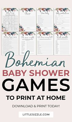 Boho baby shower games printable by LittleSizzle. Entertain your baby shower guests with this package of printable shower games with watercolor flowers. These bohemian baby party games are perfect for your floral baby shower, garden baby shower or outdoor baby shower. No matter the gender of the new baby, a boho themed baby shower is popular theme. The bundle includes Baby bingo, Baby wishes, Baby Word Scramble, Mommy Advice Cards and more! #bohobabyshowerideas #bohobabyshowergames #printable Baby Shower Flowers, Boho Baby Shower, Unique Baby Shower, Floral Baby Shower, Baby Shower Games, Baby Wishes, Wishes For Baby Cards, Baby Shower Printables, Party Printables