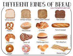 Educational infographic : ESL ESL vocabulary different kinds of bread bread ESL conversation ESL food English Tips, English Food, English Study, English Class, English Lessons, Learn English, Food Vocabulary, English Vocabulary, English Grammar