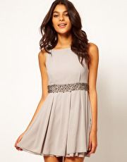 TFNC Skater Dress with Bauble Embellishment
