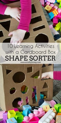 10 Learning Activities with a Cardboard Box - A Crafty LIVing - A Crafty LIVing – 10 Learning Activities with a Cardboard Box www. Preschool Learning Activities, Infant Activities, Joseph Activities, Motor Activities, Cardboard Box Crafts, Cardboard Playhouse, Cardboard Furniture, Learning Shapes, Learning Spanish