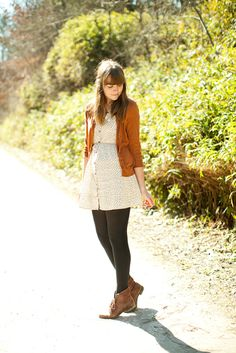 Dress + cardigan! (White, ochre.) Tights, boots.