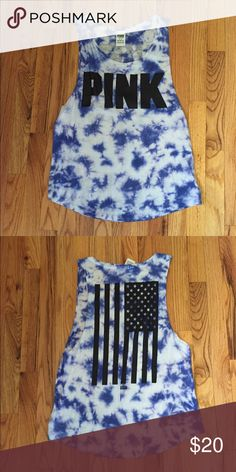 Victoria's Secret PINK Muscle Tee M VS PINK blue tie dye americana muscle tee. Size medium. Worn a few times, in great condition. PINK Victoria's Secret Tops Muscle Tees