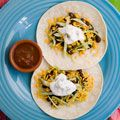 Black bean and corn soft tacos.  These are easy peasy to cook in your res hall room - just use a microwave to heat the corn and beans.