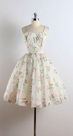 STREWN ROSES vintage 1950s dress white chiffon acetate lining pink flocked rose print bodice stays metal back zipper condition | excellent
