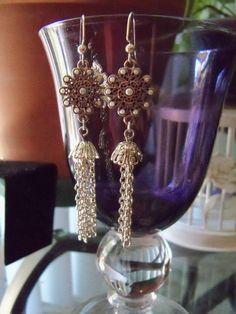 Flower star tassle pearl inlayed earrings silver by crste3designs, $12.00
