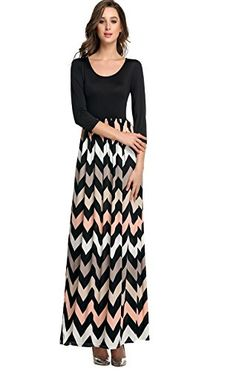Mother of the Bride Dresses - ANGVNS Womens Fashion 34 Sleeve Casual Contrast Color Striped Chevron Maxi Dress ** Check out this great product.