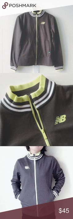 "NWOT New Balance sports jacket grey/yellow NEVER WORN sports jacket. Color is pewter grey with yellow and white. Relatively thick material. Size US M, chest 19"", length 25"".  🐻offer welcome or bundle to save more 🚫no trade New Balance Jackets & Coats"