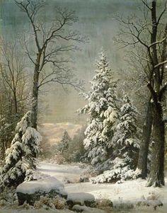 william+trost+richards+art | Bild: William Trost Richards - Schneebedeckte Bäume