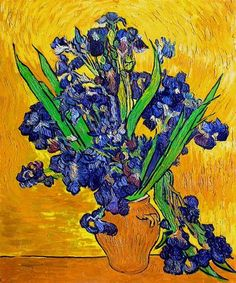 Vincent van Gogh: Still Life ~ Vase with Irises Against a Yellow Background.  Oil on canvas.  Saint-Remy: May, 1890.  Amsterdam: Van Gogh Museum.