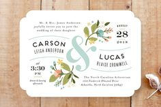 """Floral Ampersand"" - Floral & Botanical, Vintage Wedding Invitations in Sea Breeze by Jennifer Wick."