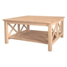 'Hampton' Unfinished Solid Parawood Square Coffee Table | Overstock™ Shopping - Great Deals on Coffee, Sofa & End Tables