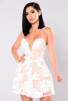 Alice Skater Dress - White/Nude