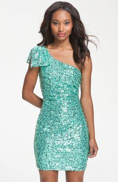 Way-In Bow Accent One-Shoulder Sequin Dress
