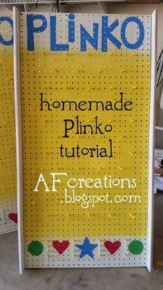 I couldnt find a good tutorial online, so I thought Id share how I made my Plinko boards: SUPPLIES I USED Peg board dowels wood for. Plinko Board, Plinko Game, School Carnival, Halloween Carnival, Christmas Carnival, Halloween Games, Christmas Games, Halloween Party, Backyard Games
